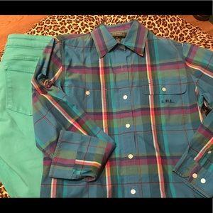 Ralph Lauren Plaid Button Up shirt EUC Small
